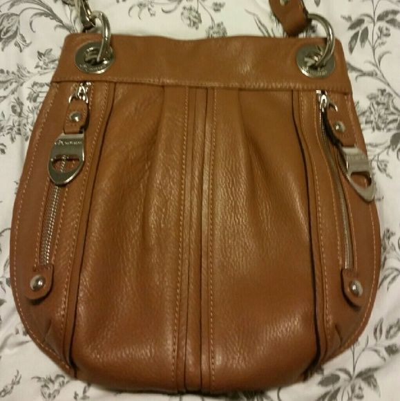 B Markosky leather crossbody Warm tan leather with silver trimmings. Leopard print interior with pocket. *make me an offer* Bags Crossbody Bags