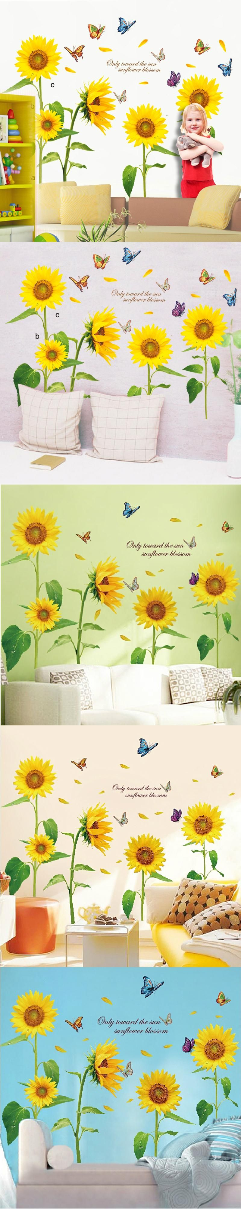 Pstoral Yellow Sun Flowers Butterfly Wall Stickers Decoration for ...