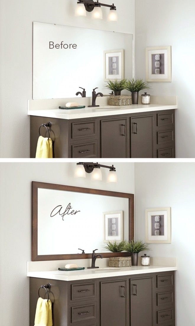 blah before beautiful after frame the bathroom mirror in minutes rh pinterest com
