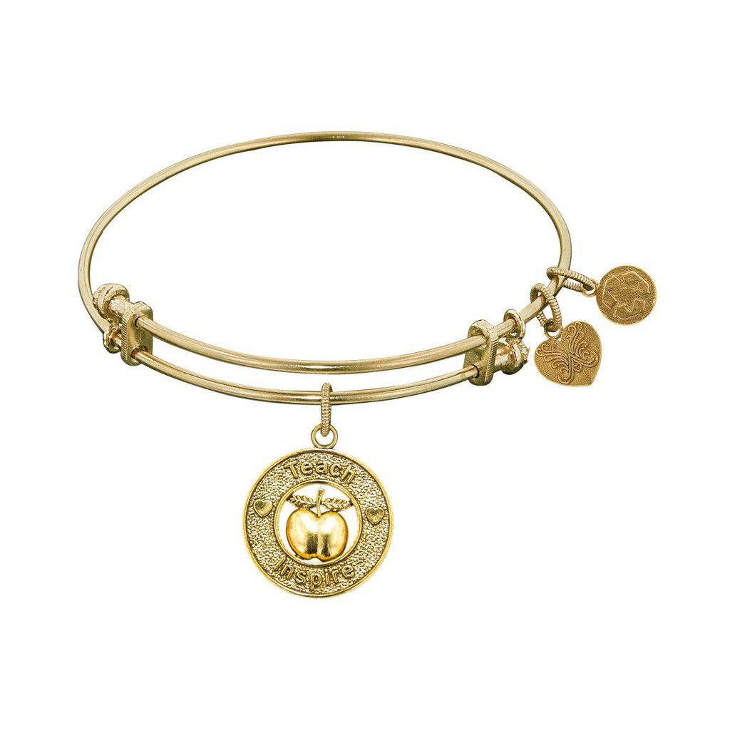 Non-Antique  Stipple Finish Brass Apple, Teach, Inspire Angelica Bangle, 7.25 Inches Adjustable - JewelryAffairs  - 1