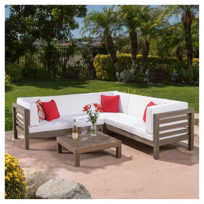 oana 4pc acacia wood sectional set with cushions white rh pinterest com
