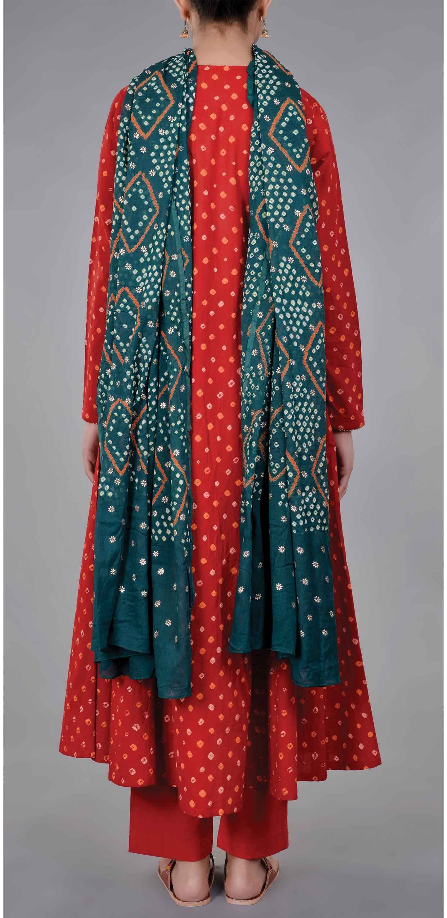 d171a24ab1759 Red Cotton Bandhani Kurta with Pants and Gold Print Dupatta Price in India  – Buy Red Cotton Bandhani Kurta with Pants and Gold Print Dupatta Online ...