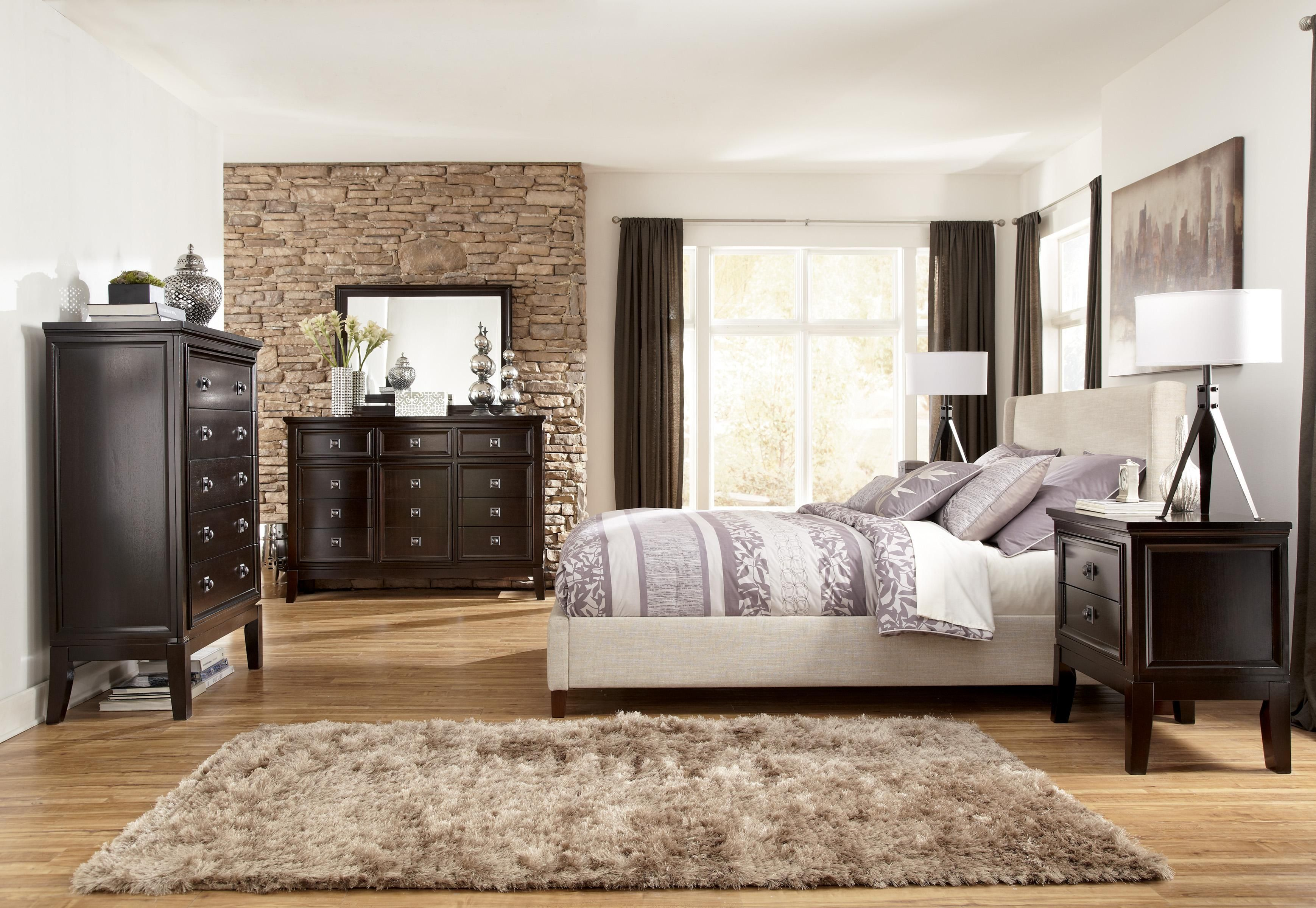 Create balance in a room filled with dark wood accents beige woven