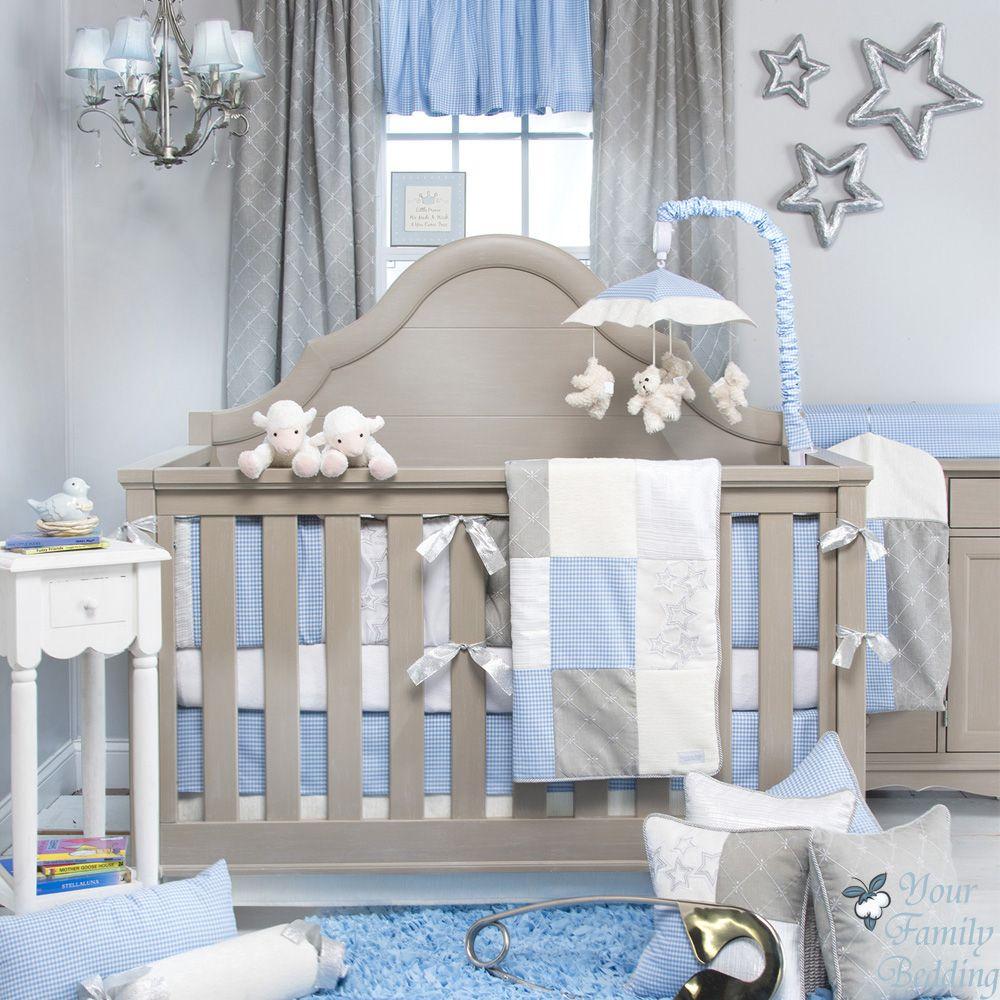 glenna jean baby boy blue grey star crib nursery bedding accessories rh pinterest com