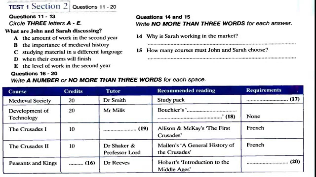 IELTS Practice Test 1 Listening Section 2 with answer key