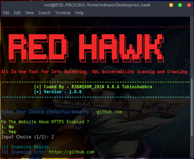 RED HAWK - All In One Tool For Information Gathering, SQL