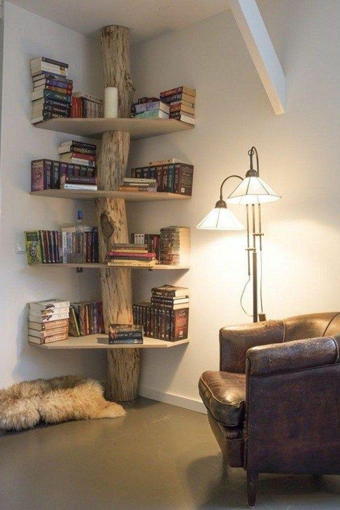 Diy Mobel Kreatives Zuhause Dekorieren Baum Regal Aus Holz Mit Buchern Von Sich Selbst Dekoration Diy Home Decor In 2020 Kreative Bucherregale Zuhause Dekoration Wohnen
