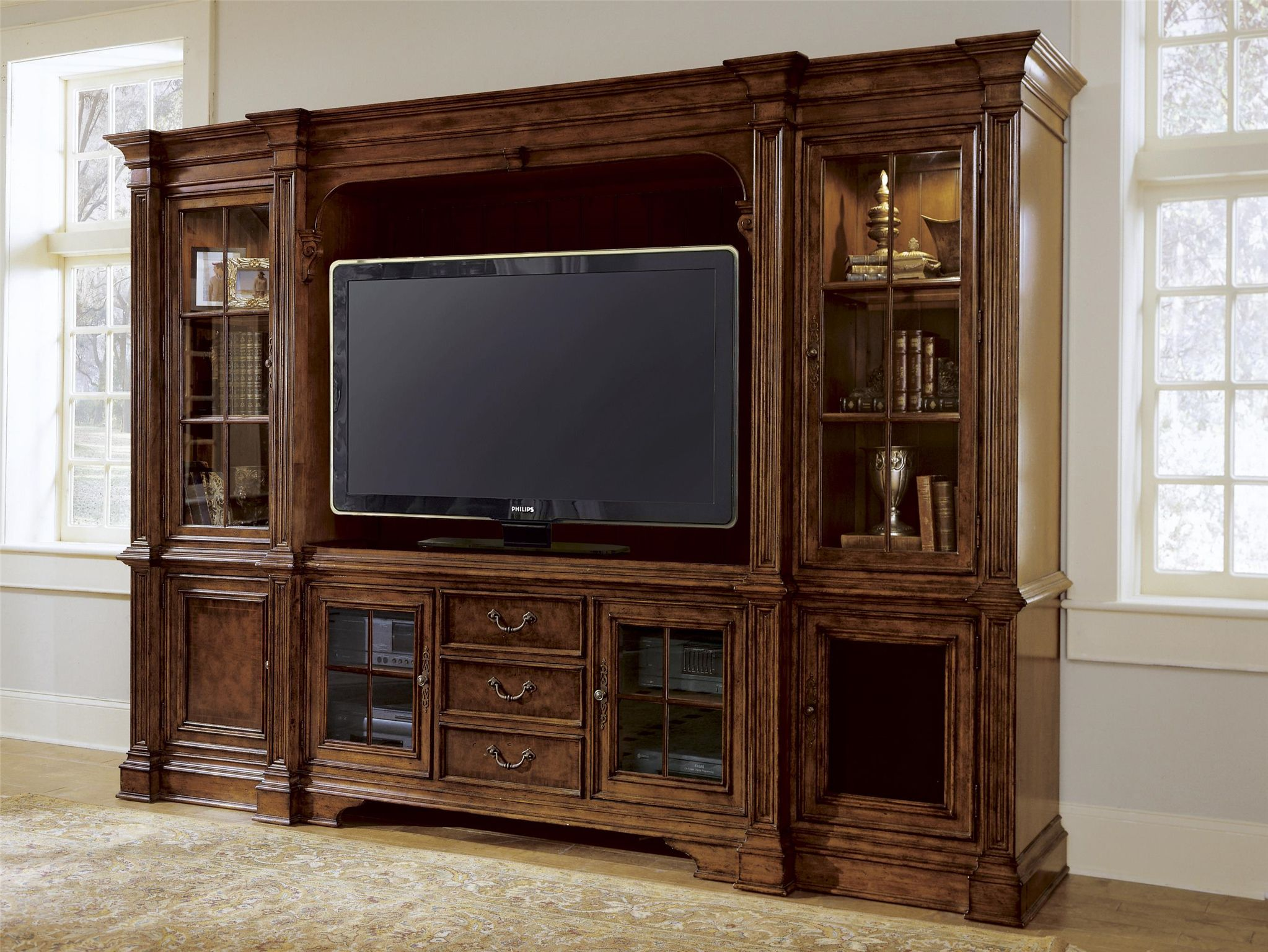 Universal Furniture Villa Cortina Entertainment Console With Hutch Features Two Gl Doors Adjule Shelf Three Drawers Dividers