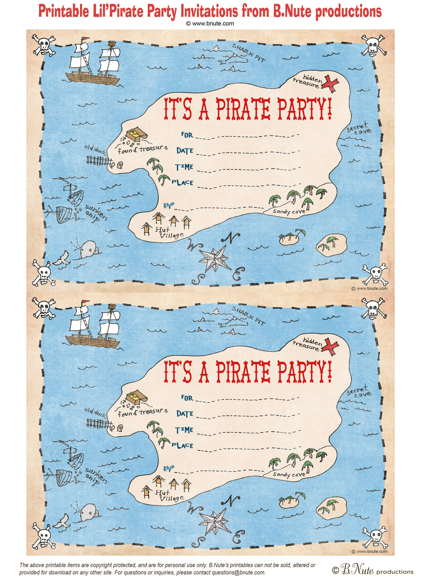 free printable Pirate Party invitation http://bnute.blogspot.com ...