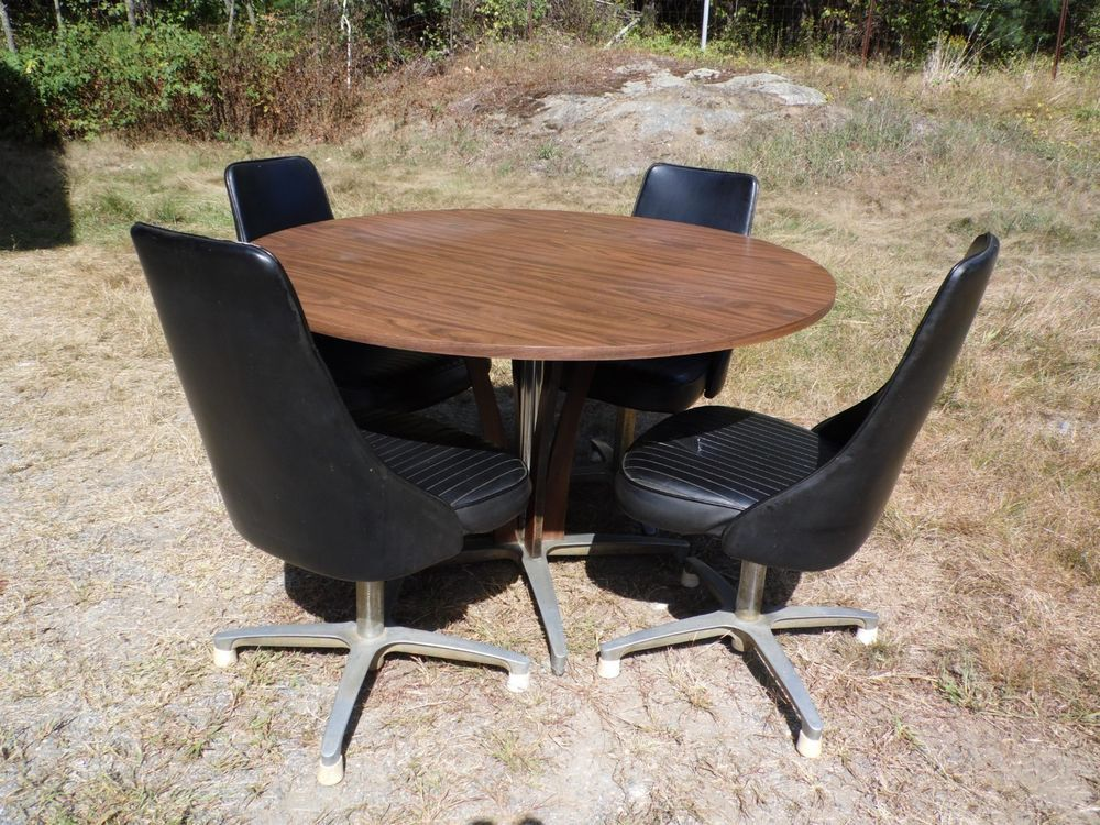 Mid Century Modern Chromcraft Dinette Set Dining Table 4 Swivel Chairs
