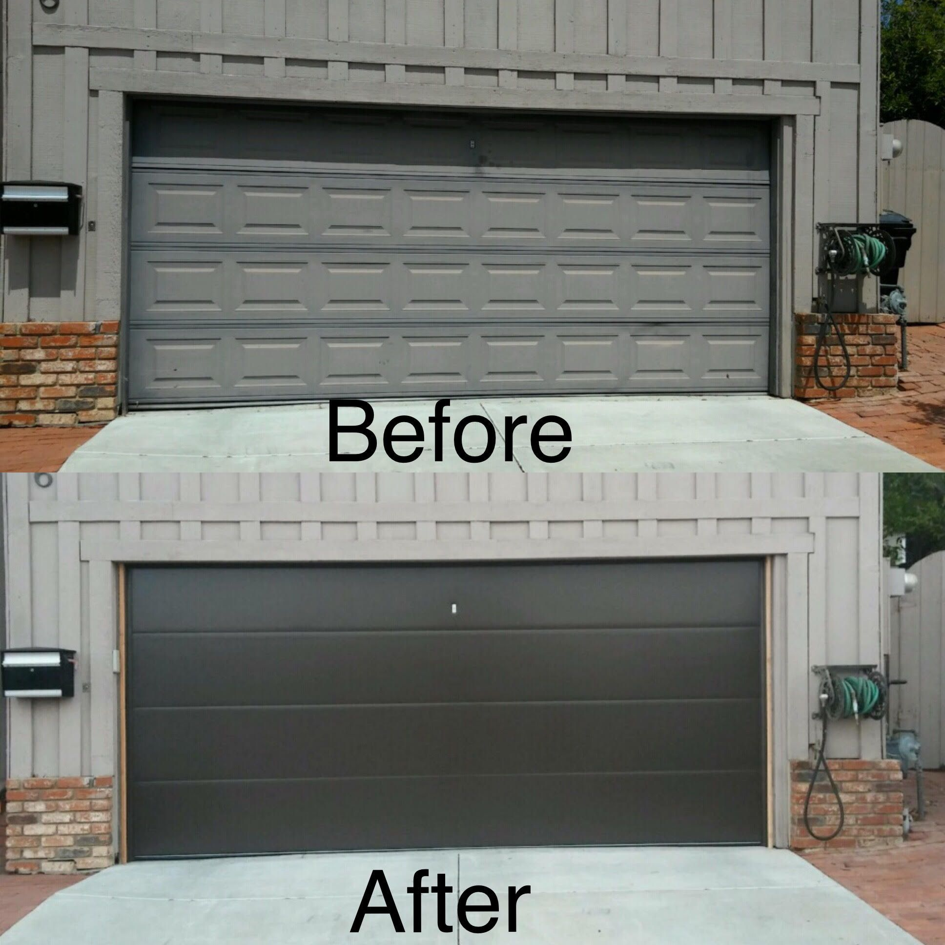 Beautiful Before After Of A Unique Flush Panel Garage Door