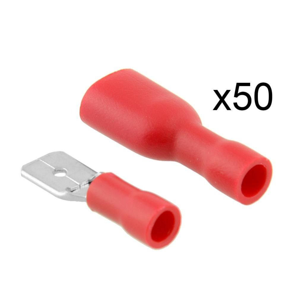 50pair Car Style Red Insulated Red Spade Crimp Wire Cable Connectors Terminal Male Female Affiliate Wire Connectors Electricity Connectors