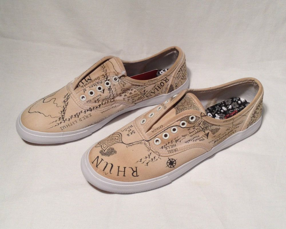 Map For Lord Of The Rings%0A Lord of the Rings Hobbit Map Shoes Tolkien Vans Keds Middle Earth Size   NWT