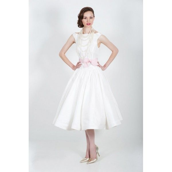 Vintage Boat Neck Tea Length Wedding Dress