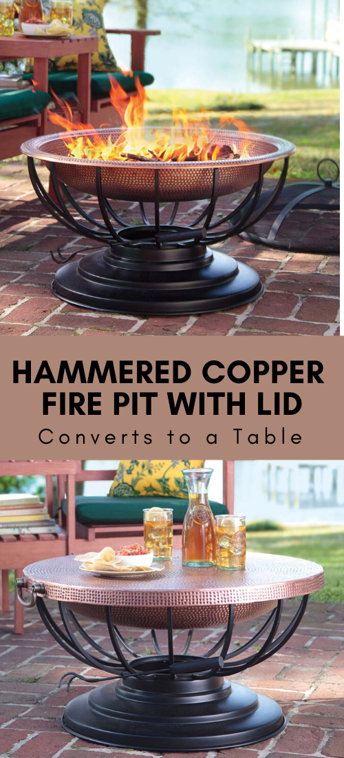 Hammered Copper Fire Pit With Lid Converts To Table Fire Pit With Lid Copper Fire Pit Fire Pit