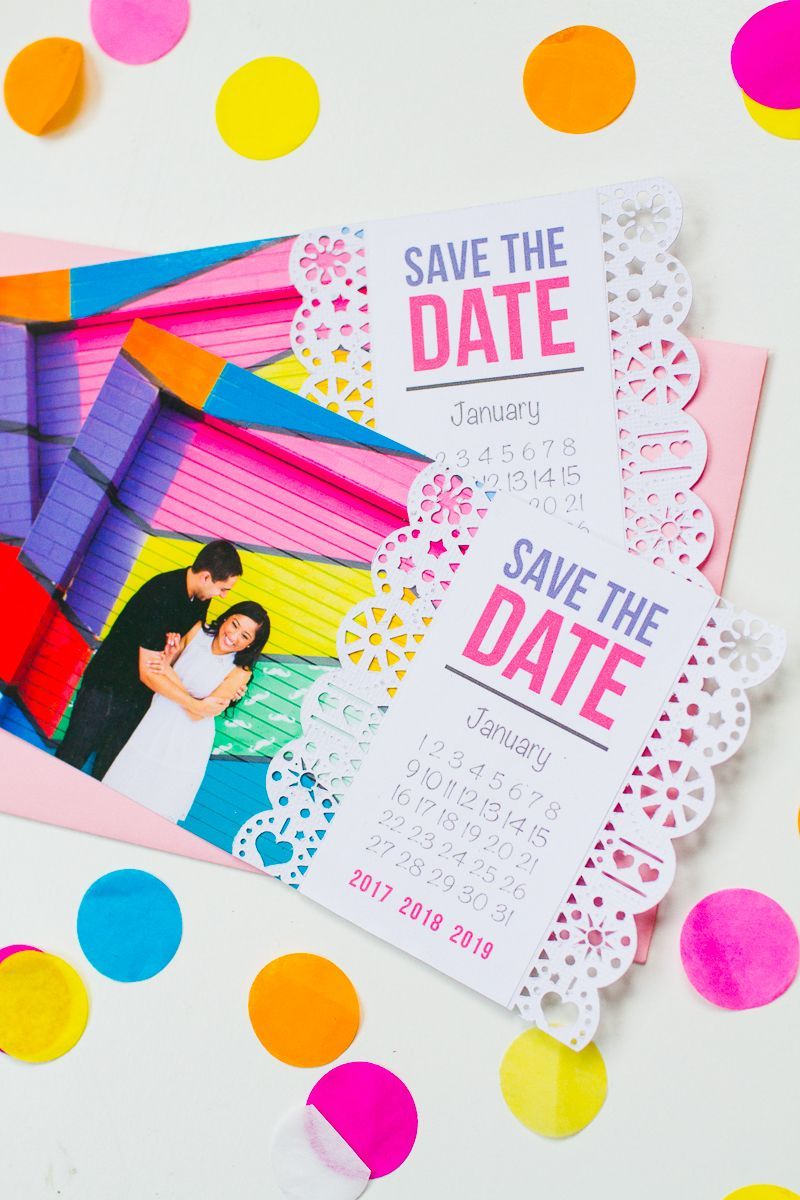Wedding decorations for reception january 2019 Mexican Save The Date Cricut Die Cut Colourful Fun Invitation