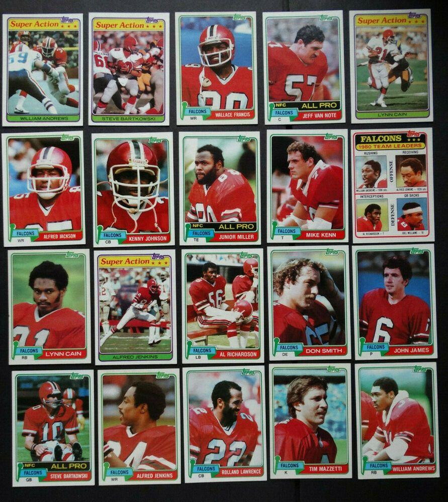 1981 topps atlanta falcons team set of 20 football cards