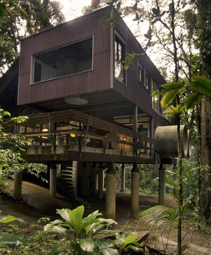 Exterior Great Tropical Home Design Idea With