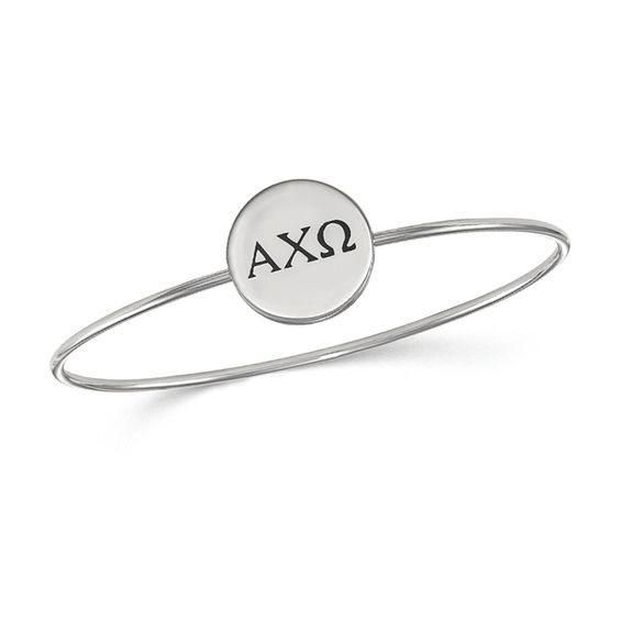 Zales Red Enamel Alpha Chi Omega Slip-on Sorority Bangle in Sterling Silver YTkXGZGaj