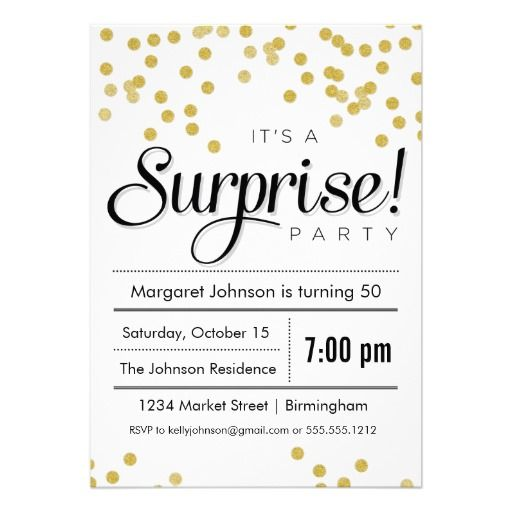 confetti surprise party invitation | surprise party invitations, Birthday invitations