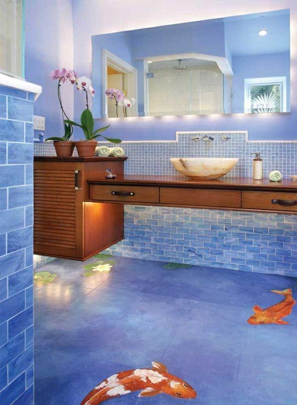 Gestaltung Idee Blau Mosaik Fliesen Koifischen
