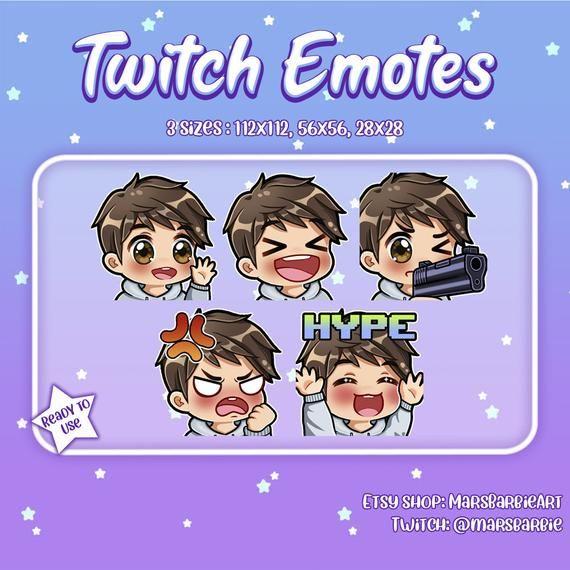 Twitch emotes // Boy chibi emotes for streamers / Brown hair & brown eyes