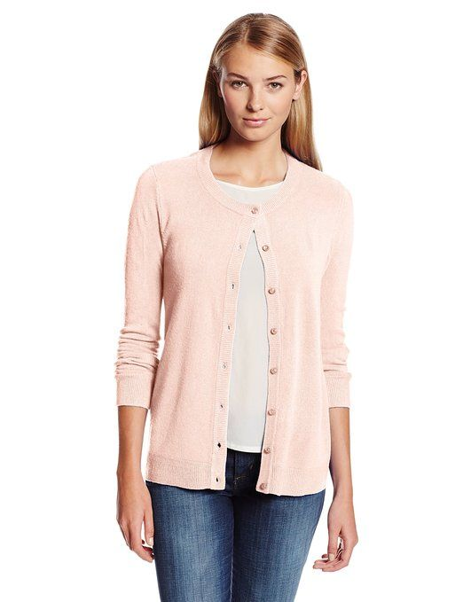 Sag Harbor Women's Button Front Cardigan Cashmerlon Sweater, Blush ...