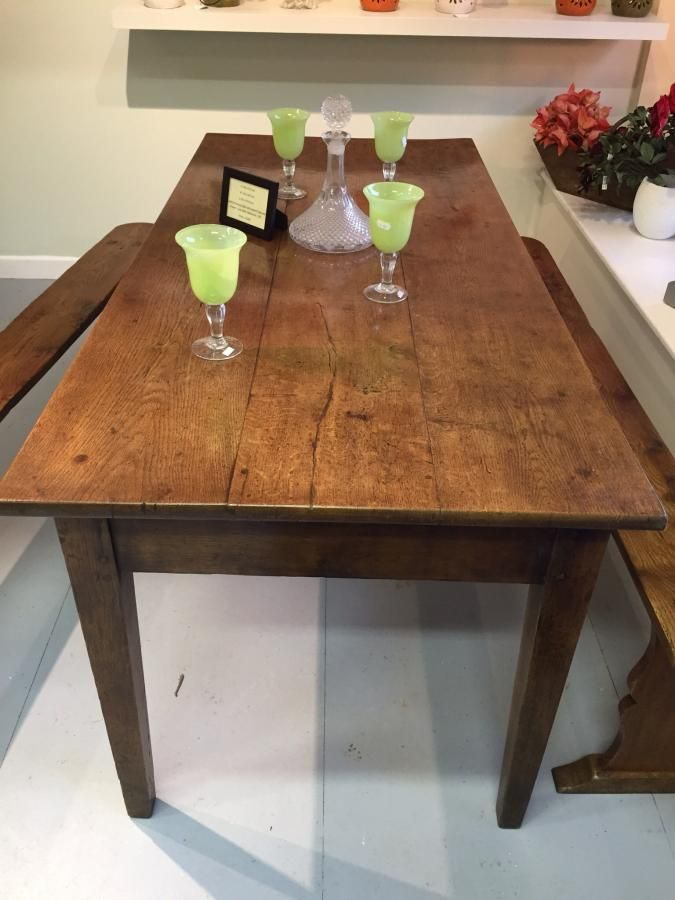 lovely oak farmhouse table with tapered legs and one drawer circa rh pinterest com