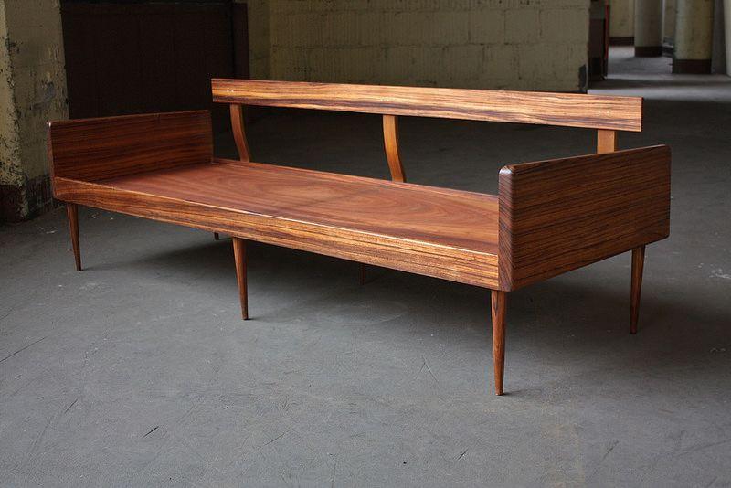 Smoldering Danish Midcentury Modern Solid Rosewood Platform Sofa Daybed Denmark 1950s Furniture Design Modern