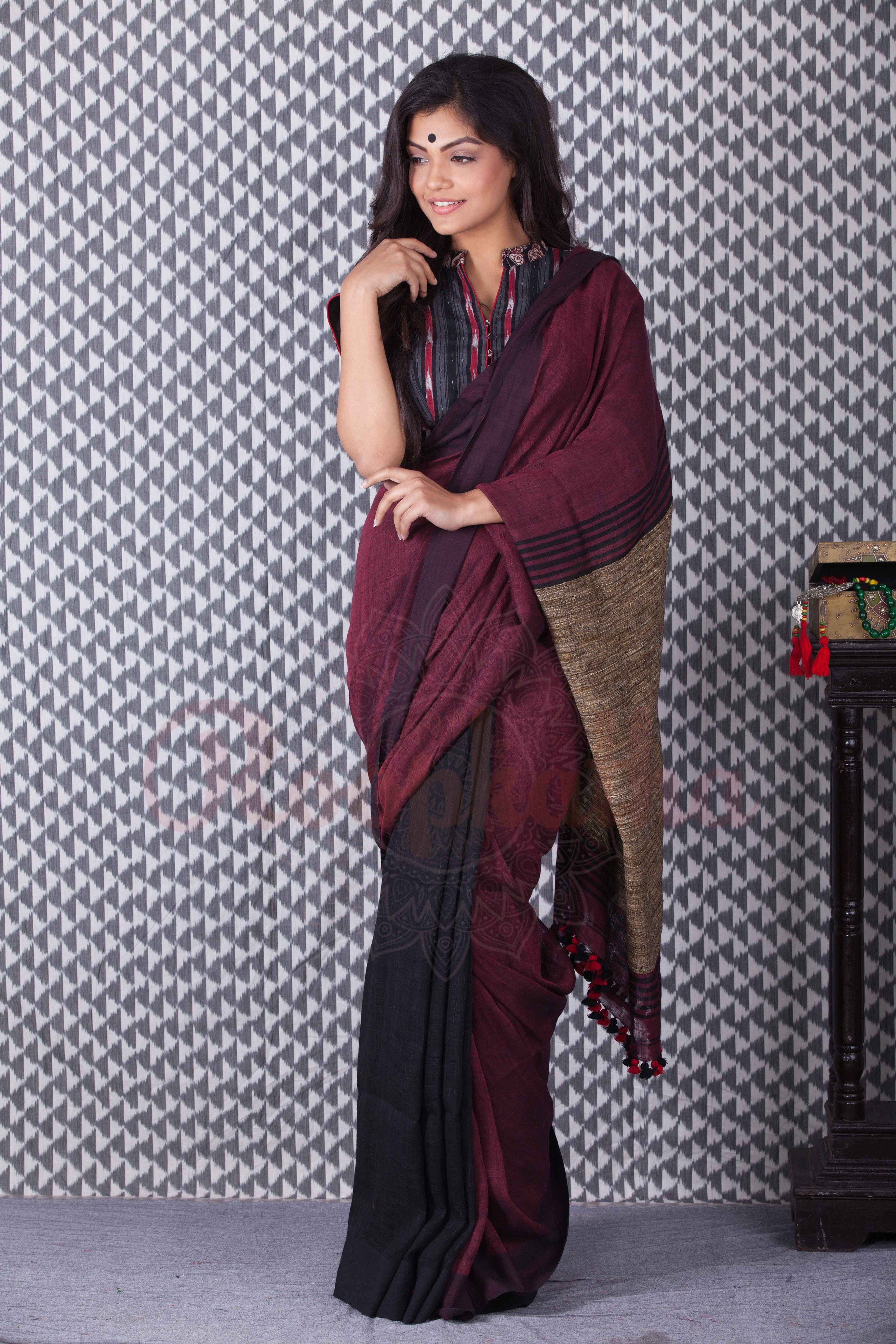 755706a3bc3fe Black   Maroon Linen Saree With Pompom - Roopkatha - A Story of Art ...
