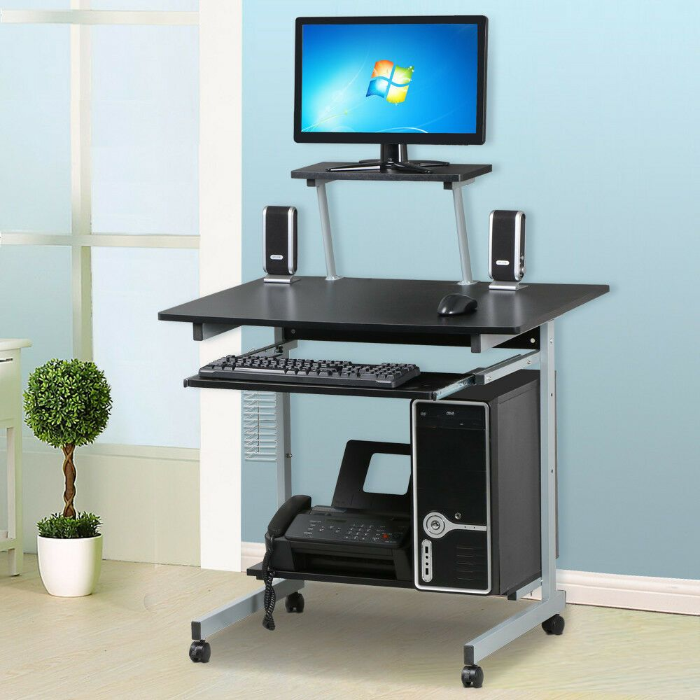 Details About Small Rolling Computer Corner Work Desk