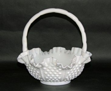 Fenton Vintage Hobnail Rope Milk Glass Ruffled Basket 8 Inch 3638 Milk Glass Milk Glass Collection