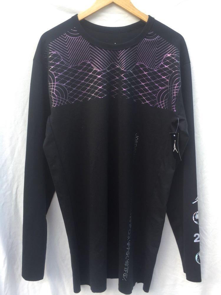 380eef50e882 Jordan Mens Nike Toronto 2016 Long Sleeve Shirt-Black Metallic ...