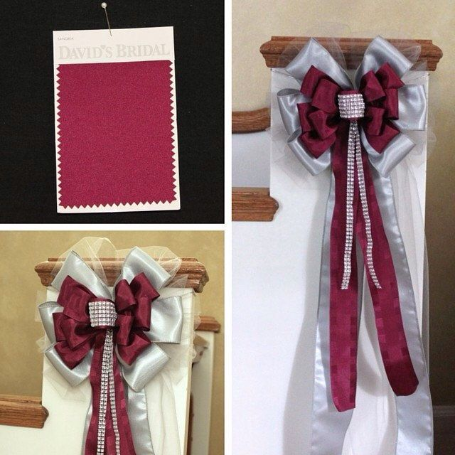 Custom order for a bride who wanted the silver bling wedding bow customized to coordinate with her David's Bridal bridesmaids dress colors...sangria and mecury