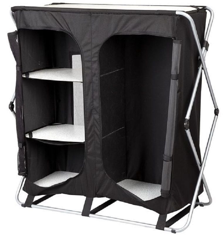 Andes Foldable 4 Shelf Camping Cabinet Tent Storage Wardrobe Cupboard