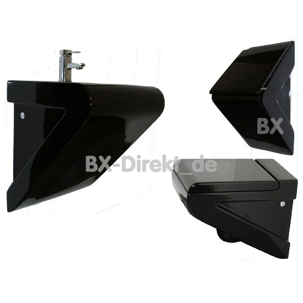 schwarze Badkeramik Set mit WC Waschtisch Urinal in schwarz ...