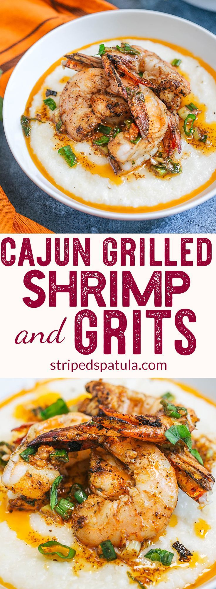 Grilled Cajun Shrimp and Grits #pescatarianrecipes