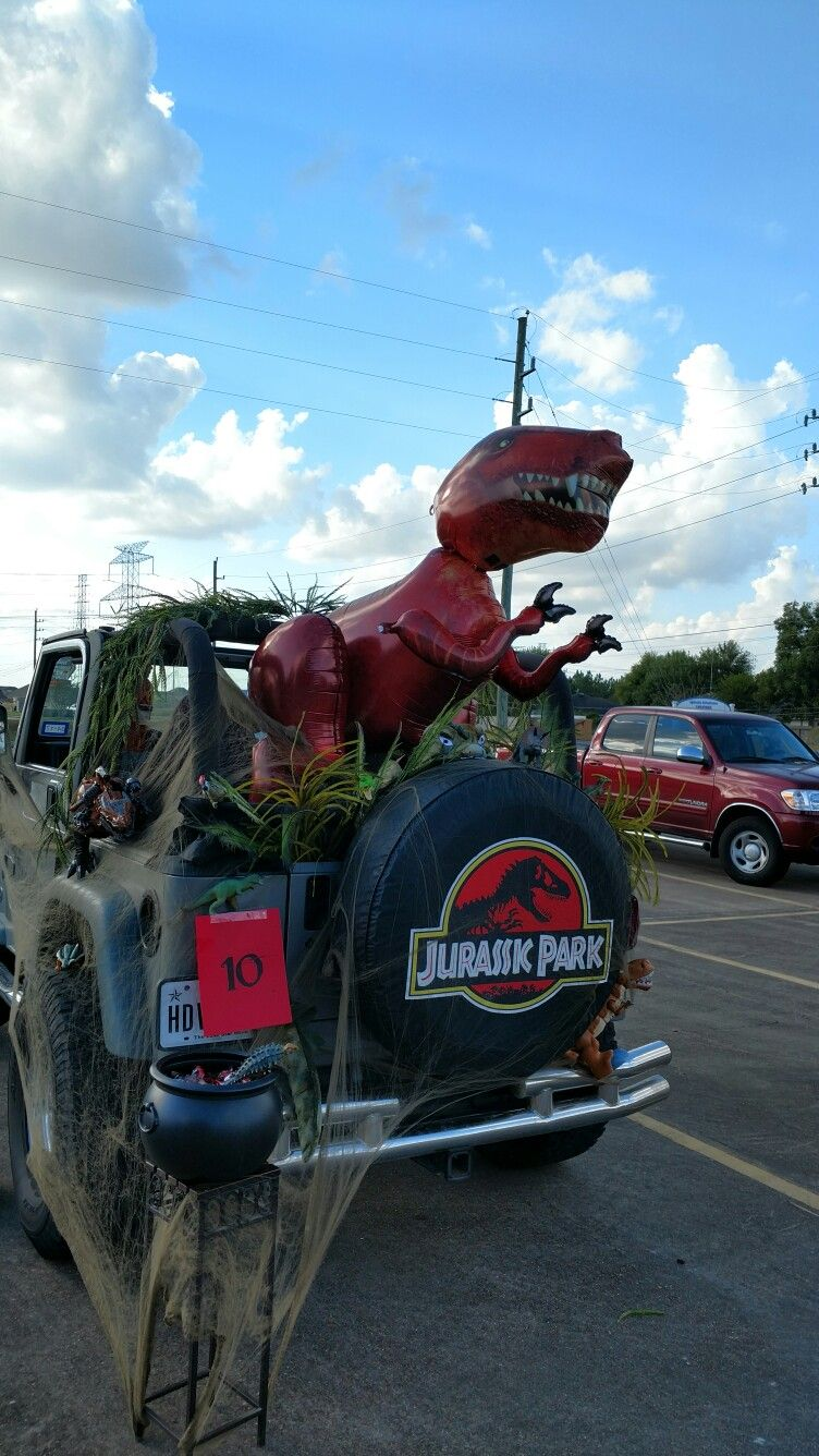 Our Jurassic Park theme Trunk or Treat Jeep #jeeplife