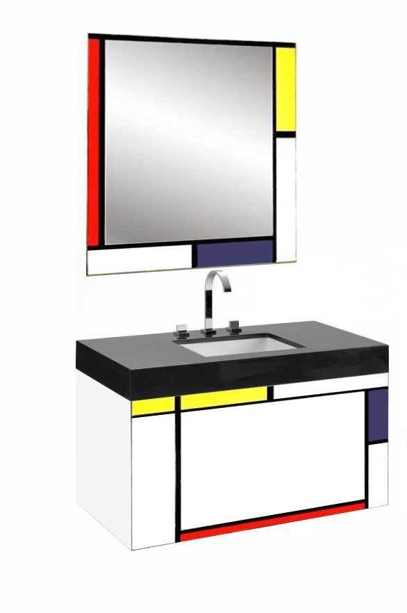 piet mondrian gerrit rietveld de stijl painted wall mirror modern. Black Bedroom Furniture Sets. Home Design Ideas