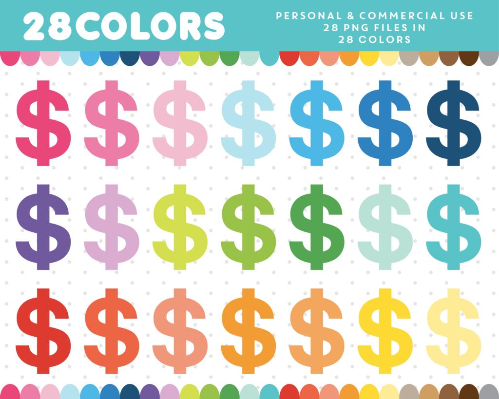 Dollar Sign Clipart In 28 Colors Cl 356 Clip Art Digital Paper Color