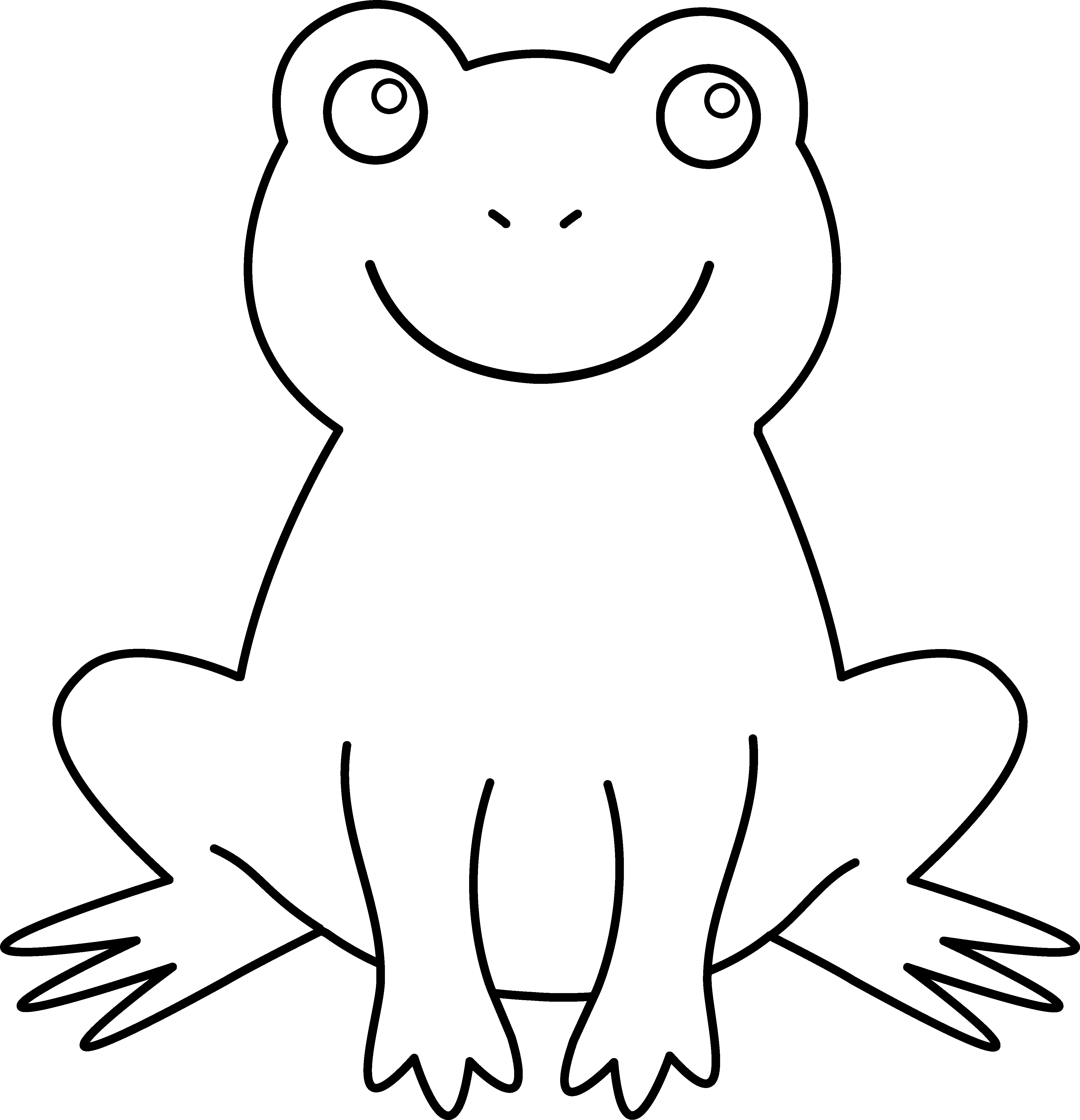 Black And White Frog Frog Coloring Pages Frog Drawing Frog Outline