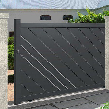 Portail Coulissant Alu Plein Droit Orleans Door Gate Design Gate Designs Modern Main Gate Design