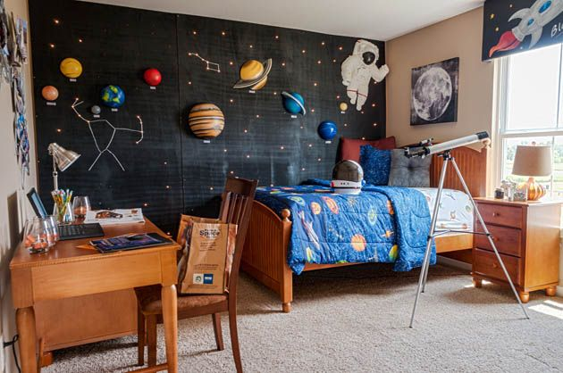 Pin By Diana Shyam On Rooms Nurseries Kids Space Themed Bedroom Outer Space Bedroom Boys Space Bedroom