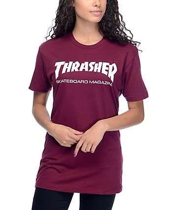 8b36d10f4fd Thrasher Skate Mag Burgundy Boyfriend Fit T-Shirt