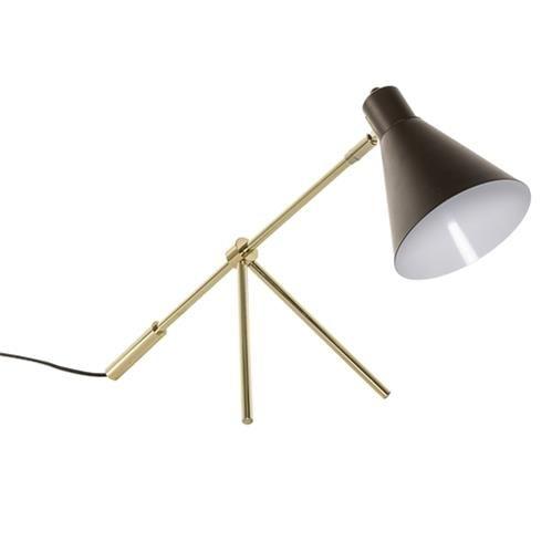 Lampe design trépied doré et abat jour marron Bloomingville Pix