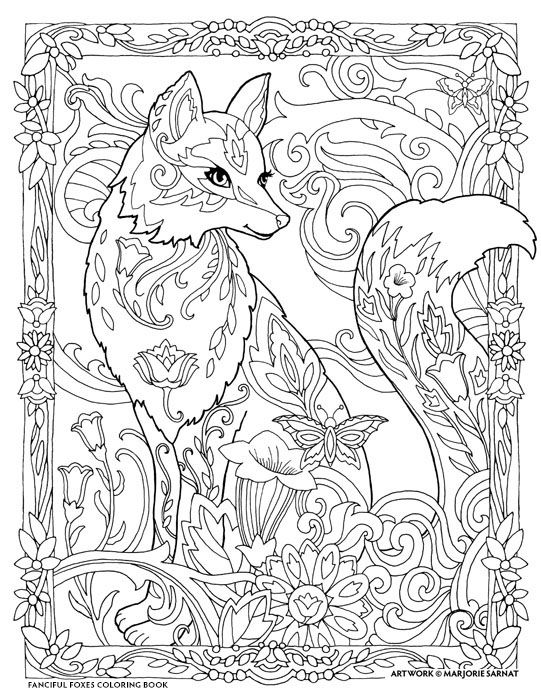 Fanciful Foxes Fox Coloring Page Animal Coloring Pages Mandala Coloring Pages