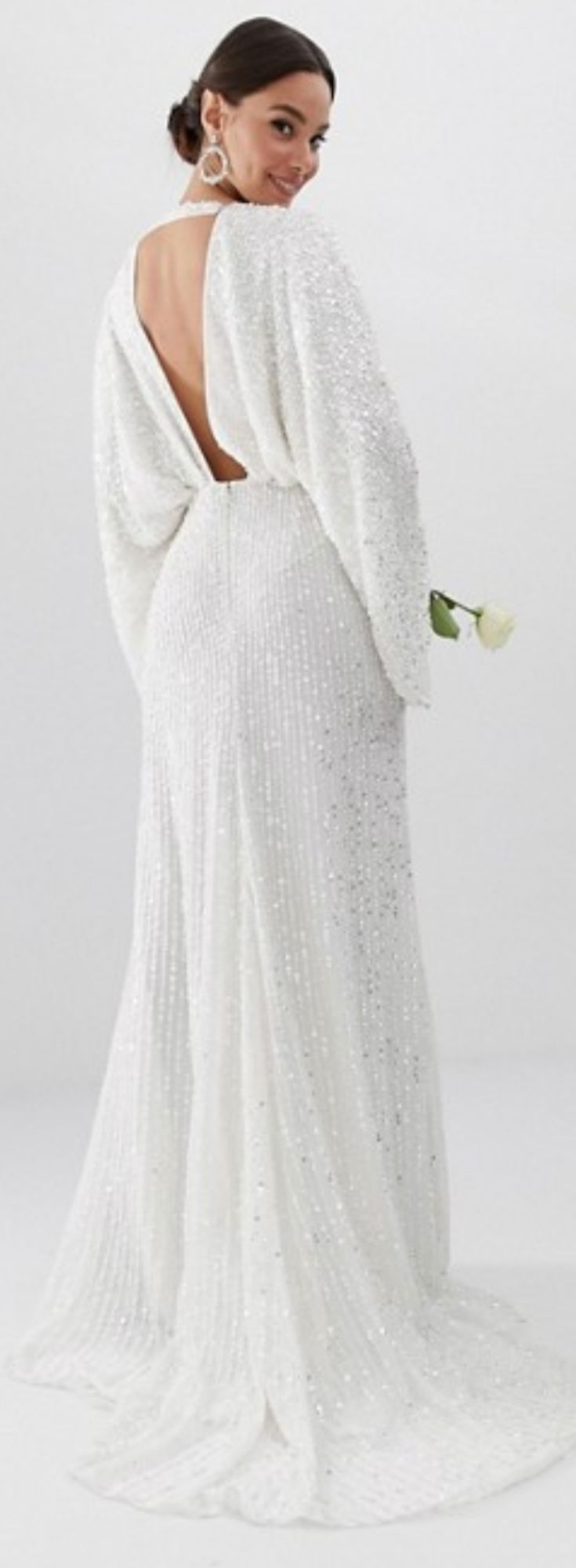 e10cc1af6d54 20 Cheap Affordable Bridal Gowns and Wedding Dresses   ASOS Edition Sequin  Kimono Sleeve Wedding Dress   Open Back Deep V Wedding Dress