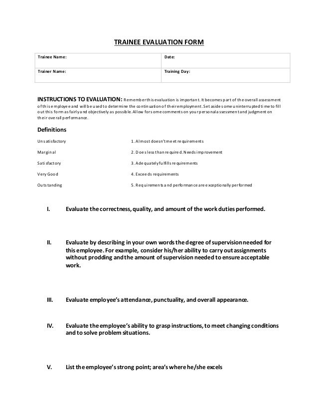 Trainee Evaluation Form Trainee Name Date Trainer Name Training