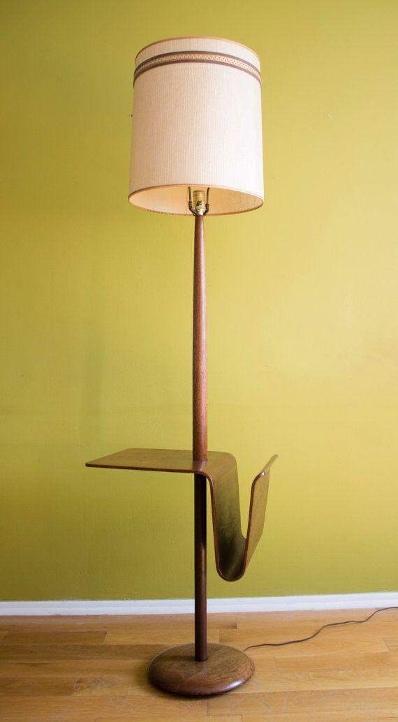 Reserved Mid Century Modern Laurel Bentwood Walnut Floor Lamp Magazine Rack Floating Table Danish Style C1960 Lamp Floor Lamp Mid Century Modern