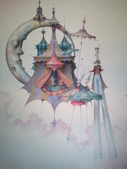 """the light of night stays dormant, while the circus is a afloat. original pinned stated """"Daniel Merriam @ Afa gallery Nyc"""""""